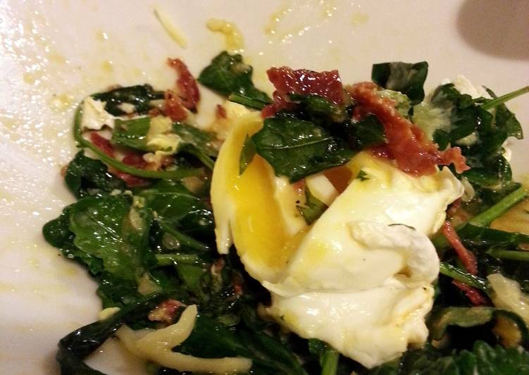 Sauted Kale Topped with Poached Egg + Crispy Chorizo