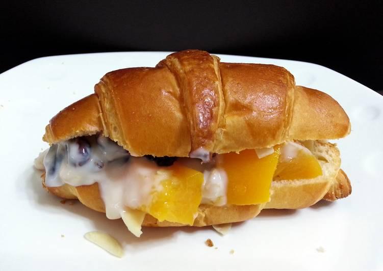 Peach Parfait On Croissant Breakfast
