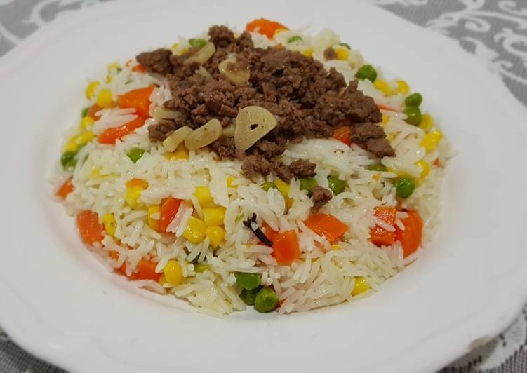 Simple rice meat and vegetable recipe #cookbook