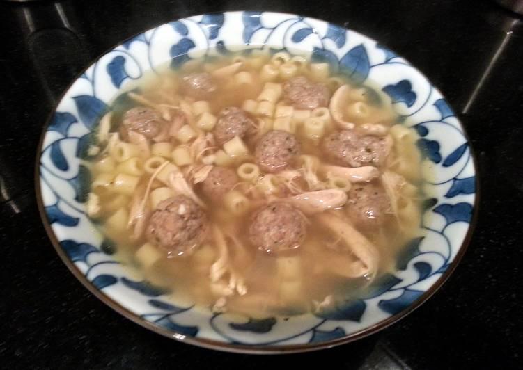 Gourmet Italian Chicken Pasta Meatball Soup