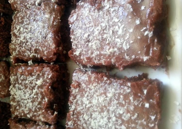 White Chocolate Brownies with Orange Chocolate Icing