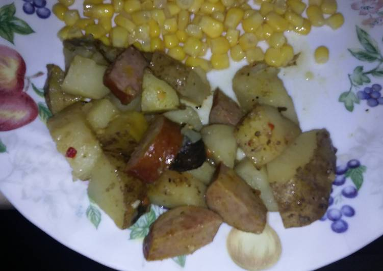 Italian kielbasa and potatoes