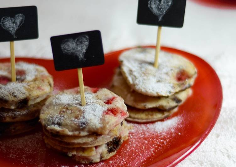 Mini pancake fragole e cioccolato