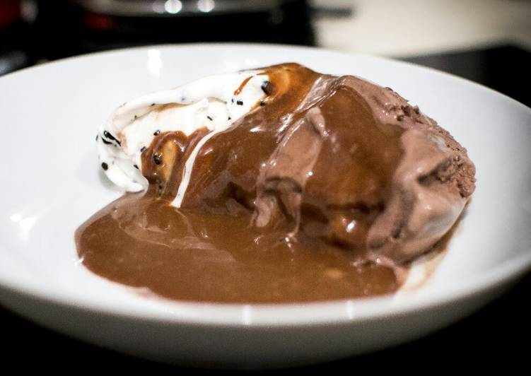 Steps to Prepare Homemade Hot chocolate Mars sauce with ice -cream
