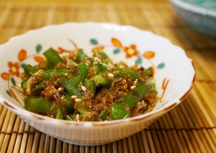 Recipe of Super Quick Homemade Green Pepper and Shirasu Sweet & Savory Stir-Fry