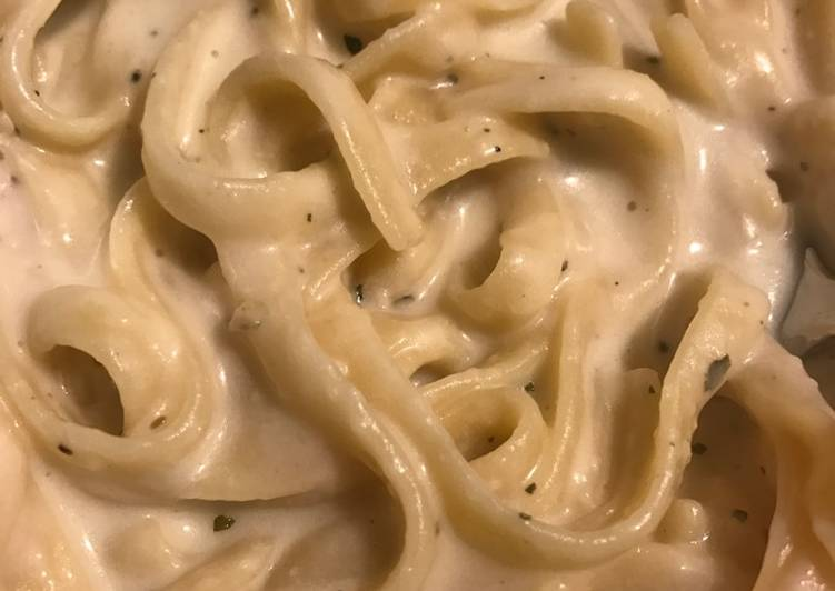 Recipe of Homemade No Cream EASY Fettuccine Alfredo DELICIOUS!