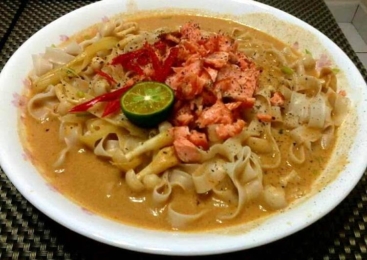 Salmon Thai Curry Noodle Soup