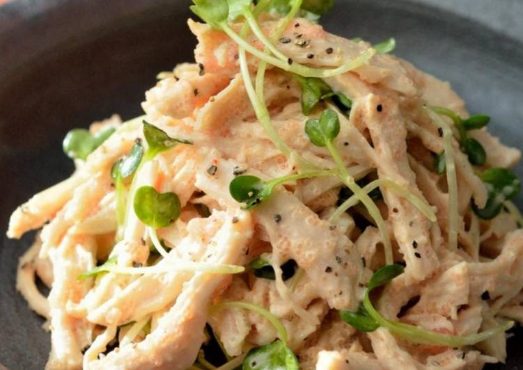 Recipe of Super Quick Homemade Steamed Chicken & Radish Sprout Salad With Mentaiko Mayo Wasabi