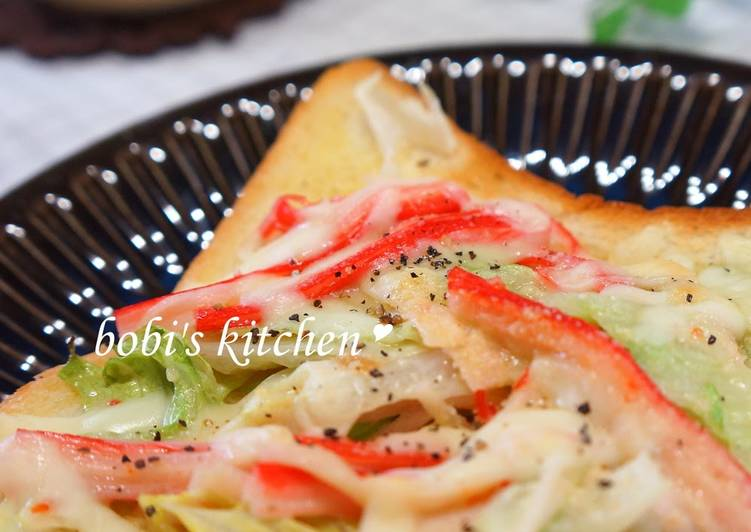 Recipe: Appetizing Crab Stick Lettuce Toast with Sweet Chili Mayonnaise