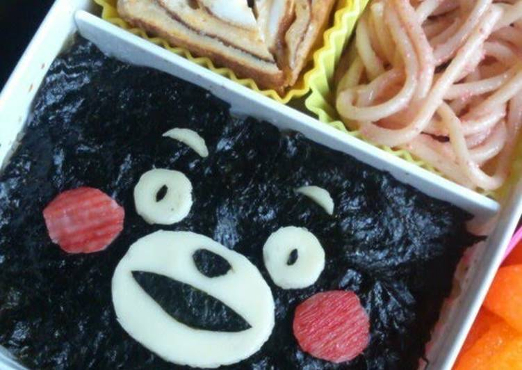 Recipe of Perfect Noriben (Rice Covered with Nori Dipped in Soy Sauce)  with Kumamon, the Kumamoto Prefecture Mascot