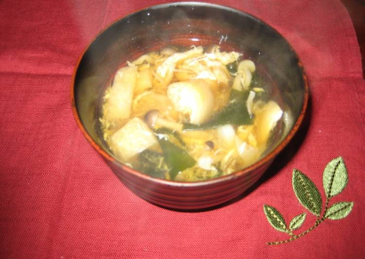 Recipe of Favorite A filling Miso Soup with Cabbage, Shimeji, and Eggs