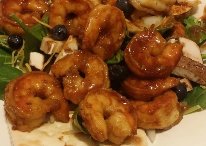 Teriyaki Shrimp Spinach Kale and Blueberry Salad