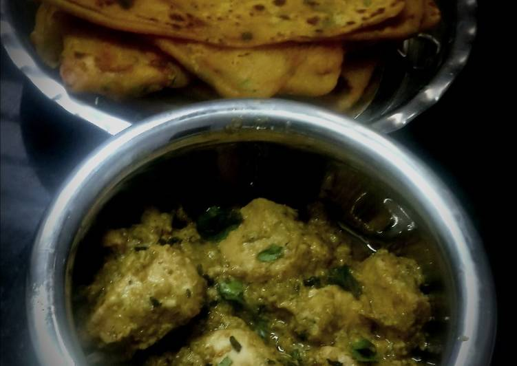 Malai methi chicken with dhaniya paratha