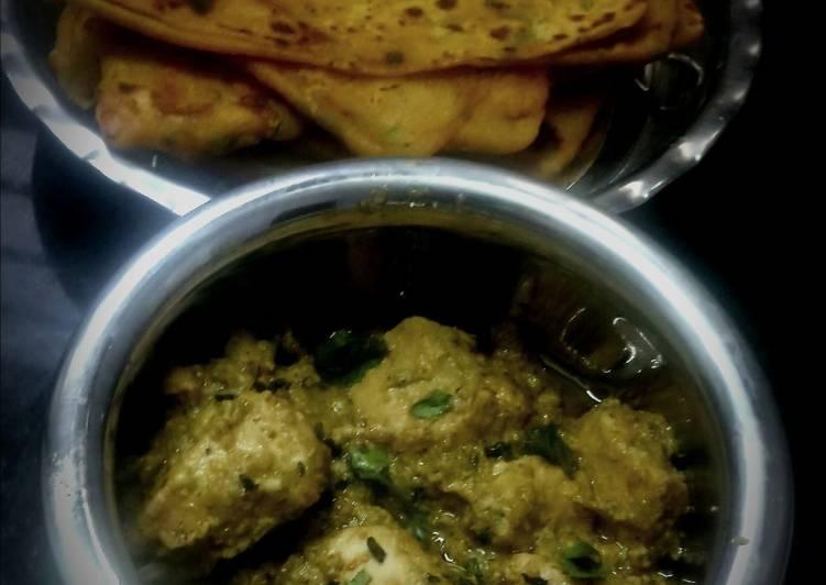 Malai methi chicken with dhaniya paratha
