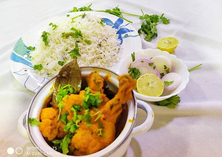 Simple Way to Prepare Super Quick Homemade Chicken Curry with Jeera Rice