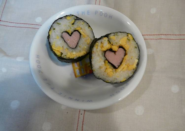 Pink Heart Sushi Rolls for Charaben