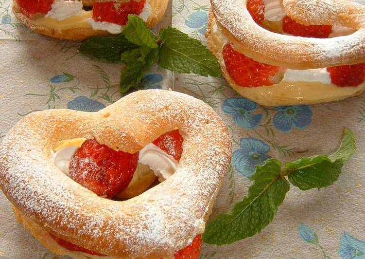 Strawberry Heart Creme Puffs