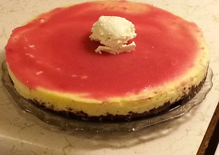 Carla halls  BUTTERMILK CHEESECAKE WITH A RHUBARB GLAZE