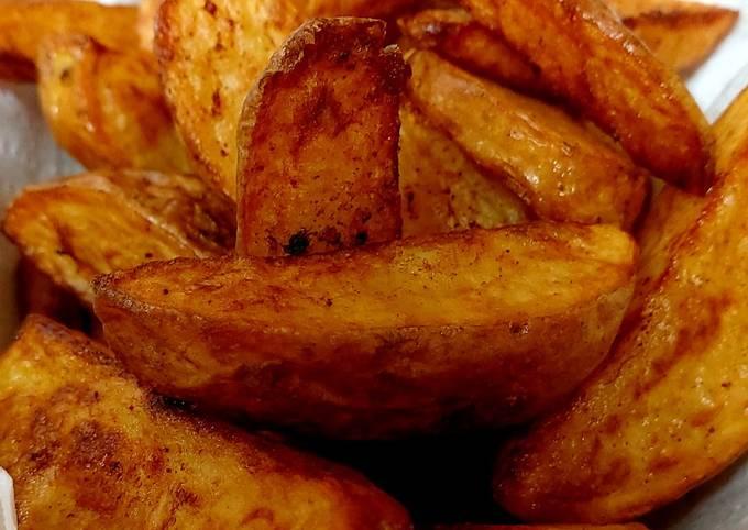 My homemade Deep fried Wedgie chunky Chips inthe Skin. #Sidedish
