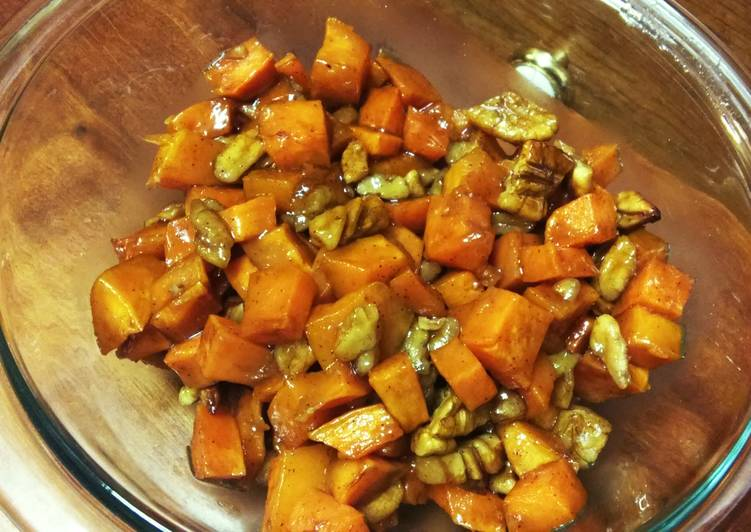 Honey and cinnamon roasted sweet potatoes and pecans