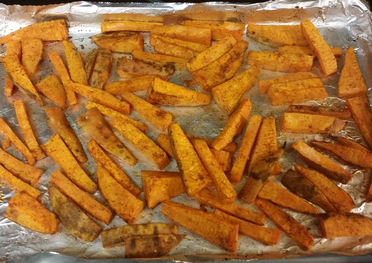 Recipe of Quick Baked sweet potato wedges