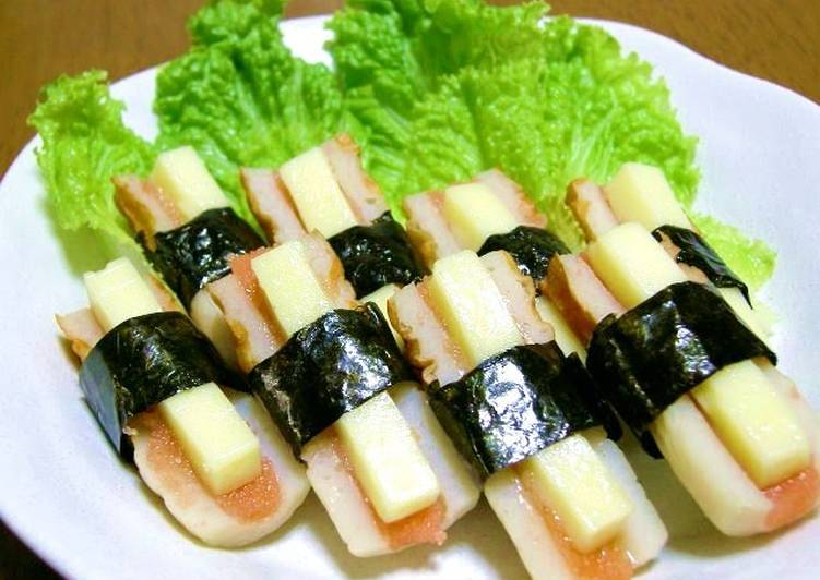 Step-by-Step Guide to Prepare Super Quick Homemade Baked Chikuwa with Mentaiko and Cheese