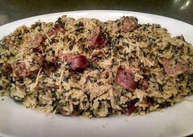 EASY ONE PAN Sausage, Spinach and Rice Parmesan