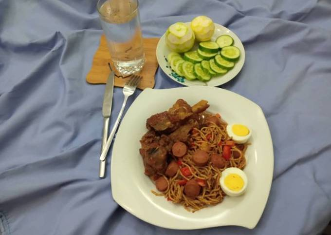 Tasteful pasta with sausage, peppered beef #Rivers state