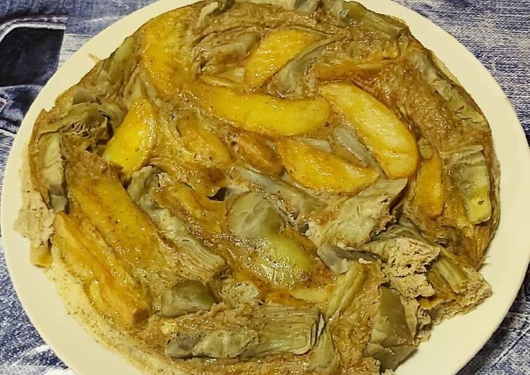 Tortilla de alcachofas y patatas al microondas