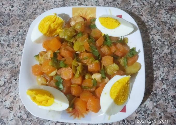Salade de carotte / fève / œuf