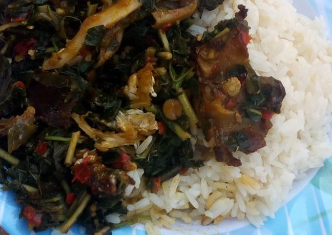 White rice and vegetable soup