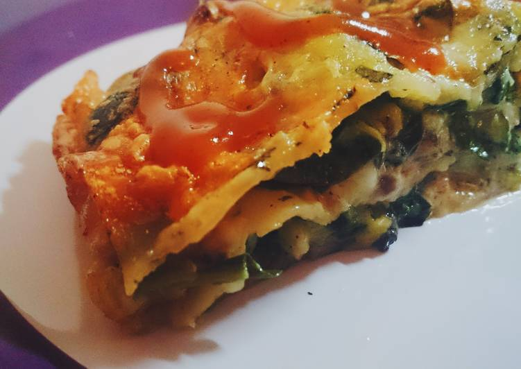 Cheesy pork spinach LASAGNA