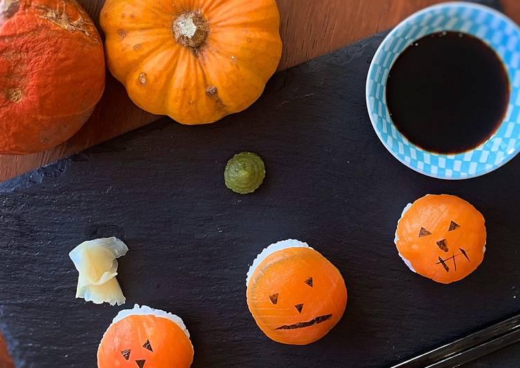 5 Minute Steps to Make Quick Halloween 🎃 jack o lantern sushi