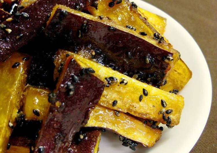 Non-Fried Candied Sweet Potato Sticks
