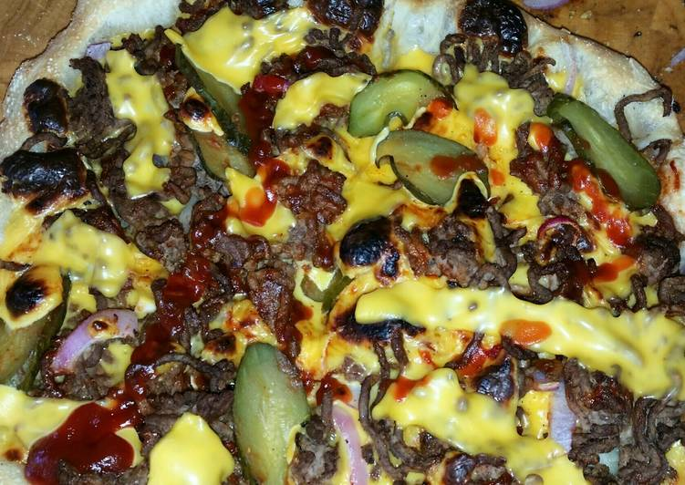 Wood fired cheeseburger pizza