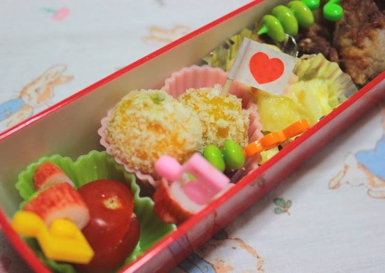 Recipe: Yummy Simple Bento Kabocha and Cheese Croquettes