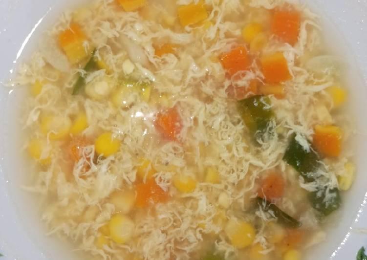 Sup jagung telur wortel