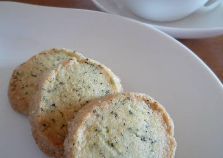 Easy Crispy Black Tea Shortbread Cookies