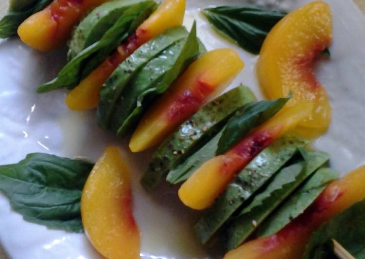 Peach Avacado and Basil Skewers