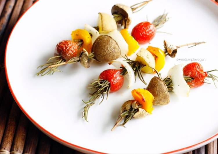 Roasted Vegetables On Rosemary Skewers