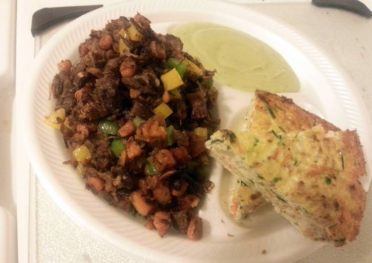 Paleo sweet potato hash with crust-less veggie quiche