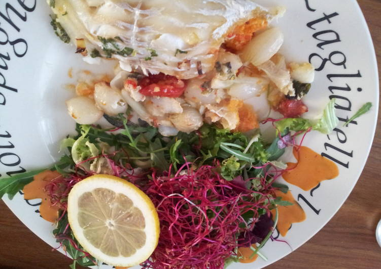 cod with stuffing and salad