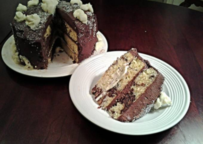 Marble Cake with Whipped Dark and White Chocolate Ganache Frosting1