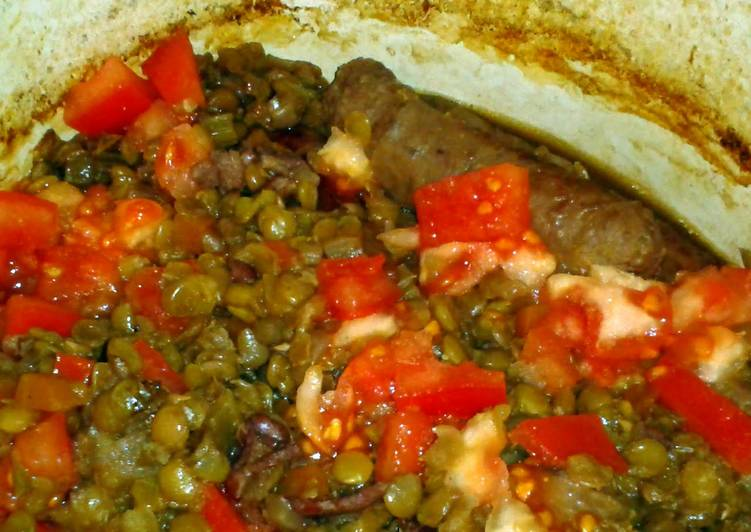 Venison Sausage and Green Lentil Stew