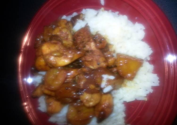 cajun pineapple chicken and shrimp