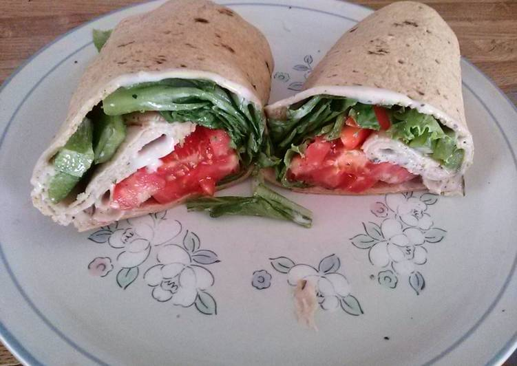 Simple Guide to Make Appetizing Dean's Healthy Awesome Turkey Caesar Salad Wrap