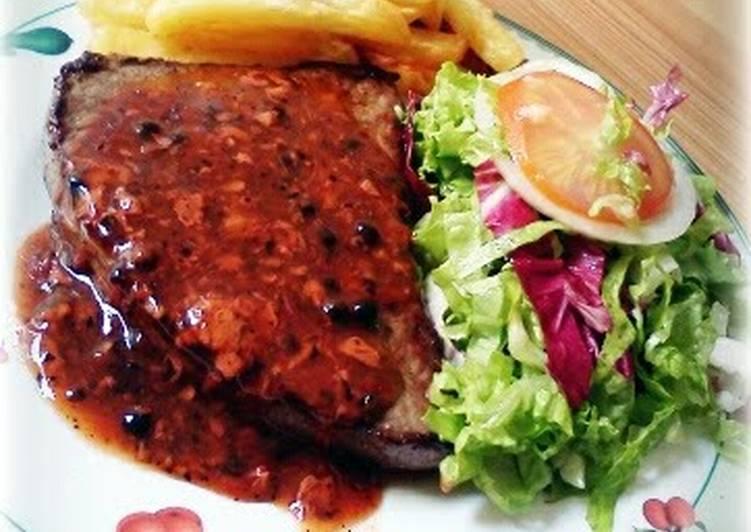 beefsteak with peppercorn sauce