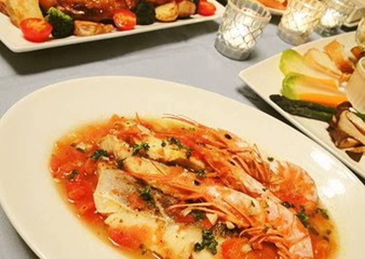 Recipe of Most Popular Easy Acqua Pazza with Cod and Shrimp Heads