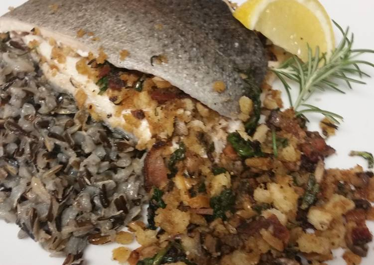 Bacon Mushroom Goat Cheese Stuffed Trout