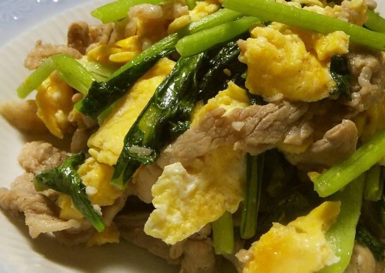Recipe of Quick Pork and Komatsuna Greens Chinese Stir Fry